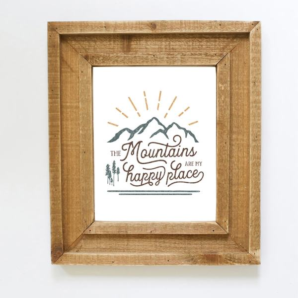 Are the mountains your happy place? Instantly download this printable to display on your walls! BW + Color Option Included! MountainModernLife.com