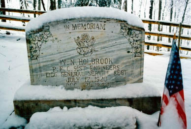 W. N. Holbrook's tombstone in December of 2009
