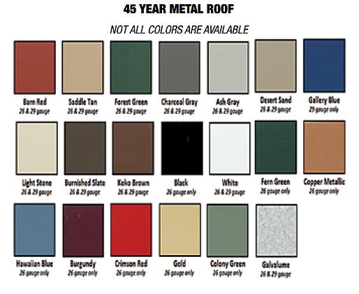 modular log roof colors