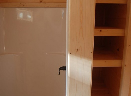 36″ Shower With Linen Shelves and Pantry