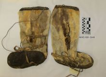 "Accession: 61-124-M Uniform, Boots, Fur, 16.5"" L x 11.5"" W Boots used by Admiral Byrd in his first expedition to Antarctica in 1928. Collection of Curator Branch, Naval History and Heritage Command. Naval History & Heritage Command from Washington, DC, USA"