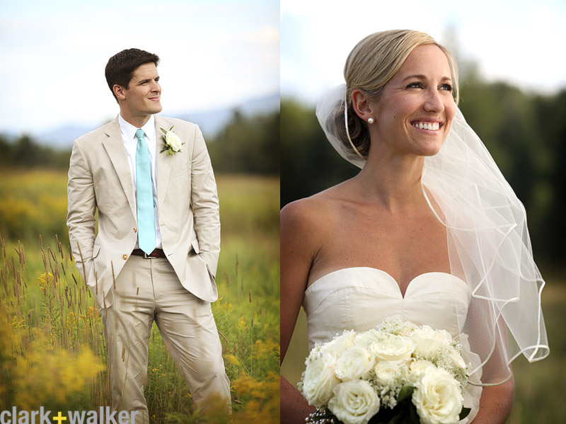 Bride and groom Portraits in a meadow
