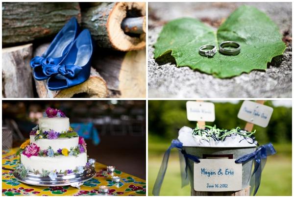camp wedding details blue shoes wildflower cake