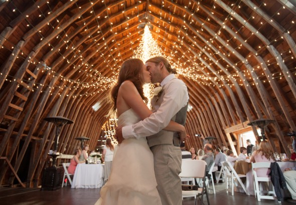 twinkle lights at a barn wedding