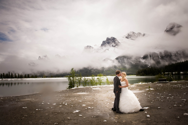 mountain bride and groom in Canmore Alberta
