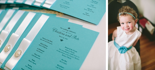 tiffany blue wedding ceremony program and flower girl