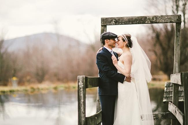 NY mountain wedding couple on bridge