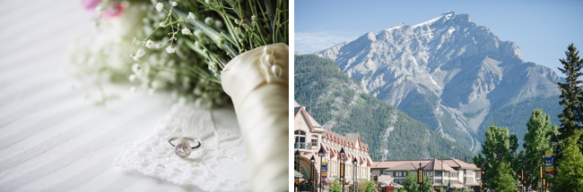 mountain town and wedding rings