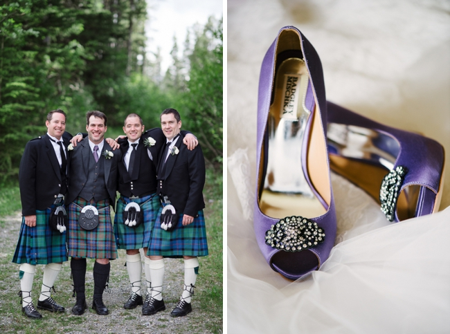 purple wedding shoes and men in kilts
