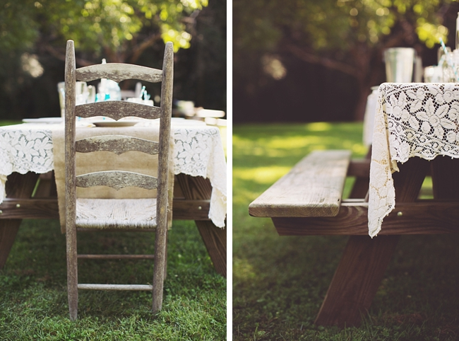 picnic tables rustic chic wedding via http://mountainsidebride.com