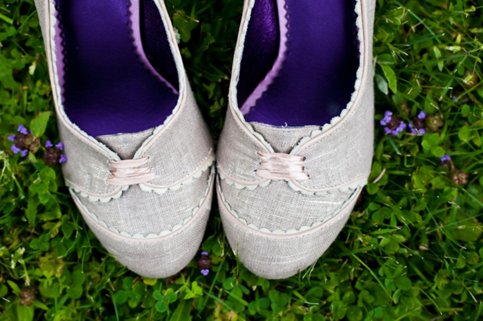 Tweed wedding shoes with purple lining and lace-up toe for a down to earth Vermont Wedding
