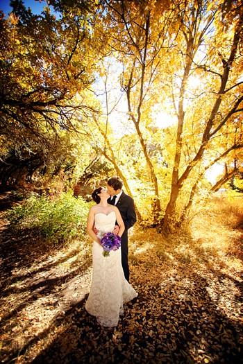 fall wedding portrait in Salt Lake City