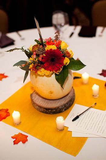fall pumpkin and flower center piece