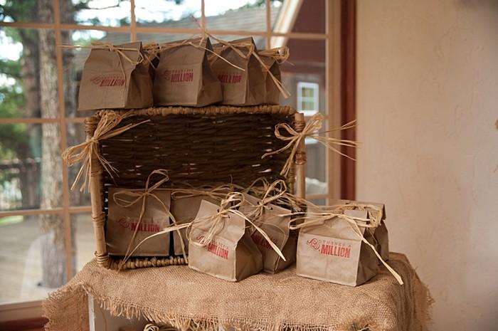 stamped paper bag favors   Colorado Wedding