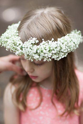 babys breath floral crown on flower girl