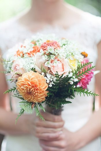pink and peach centerpiece