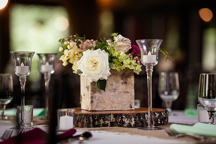 rustic maroon and white centerpiece western North Carolina handmade wedding by Shutter Love Photography