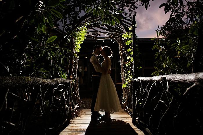 evening kiss western North Carolina handmade wedding by Shutter Love Photography