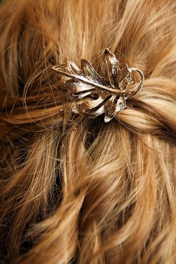 bronze leaf hairpiece | Snowbird Utah Wedding Logan Walker Photography