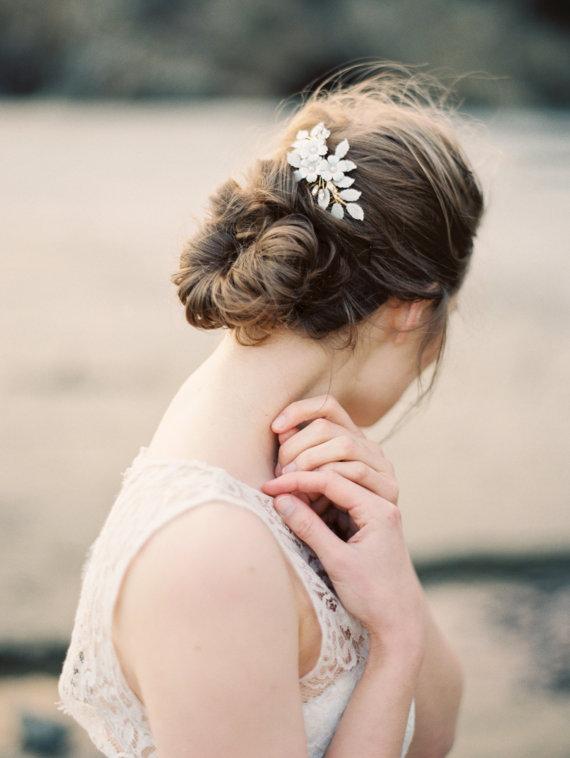 bridal headpiece flower leaf