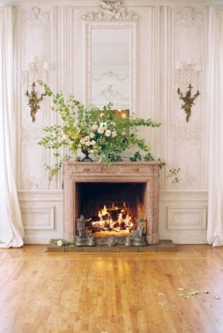 Fireplace With White Florals | Spiked Cider Cocktail Inspiration
