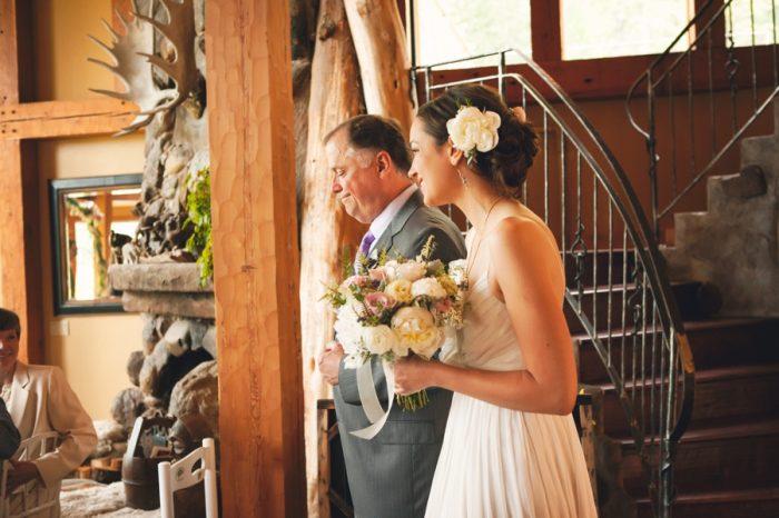 11 Ceremony Bride And Father Sandpoint Idaho Mountain Wedding Amy Galbraith Photography   Via MountainsideBride.com