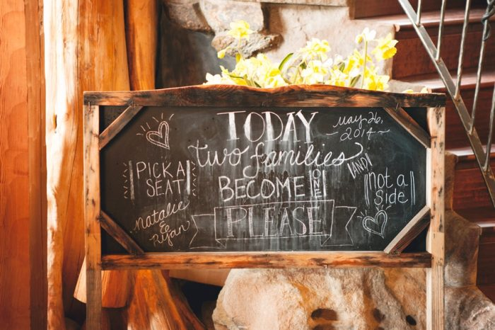 9 Chalkboard Sign Sandpoint Idaho Mountain Wedding Amy Galbraith Photography   Via MountainsideBride.com