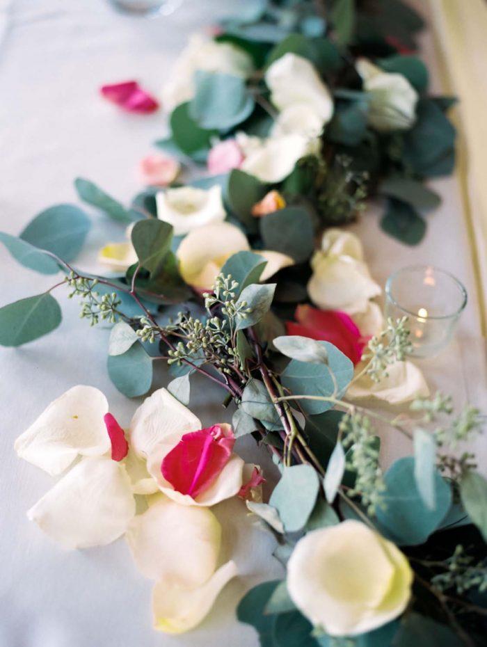 romantic floral table runner | Copper Mountain Wedding Colorado Danielle DeFiore Photography | Via Mountainsidebride.com