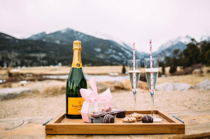Pop The Champagne Colorado Mountain Engagement | Alchemy Photography Via MountainsideBride.com