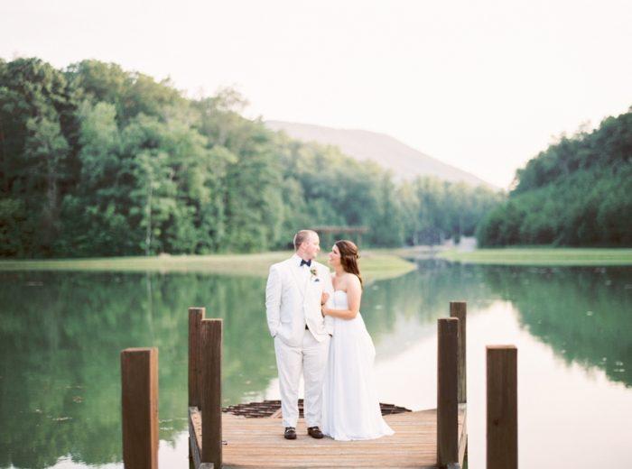 Couple Near Lake Butterfly Gap Wedding Maryville Tennessee JoPhoto | Via MountainsideBride.com