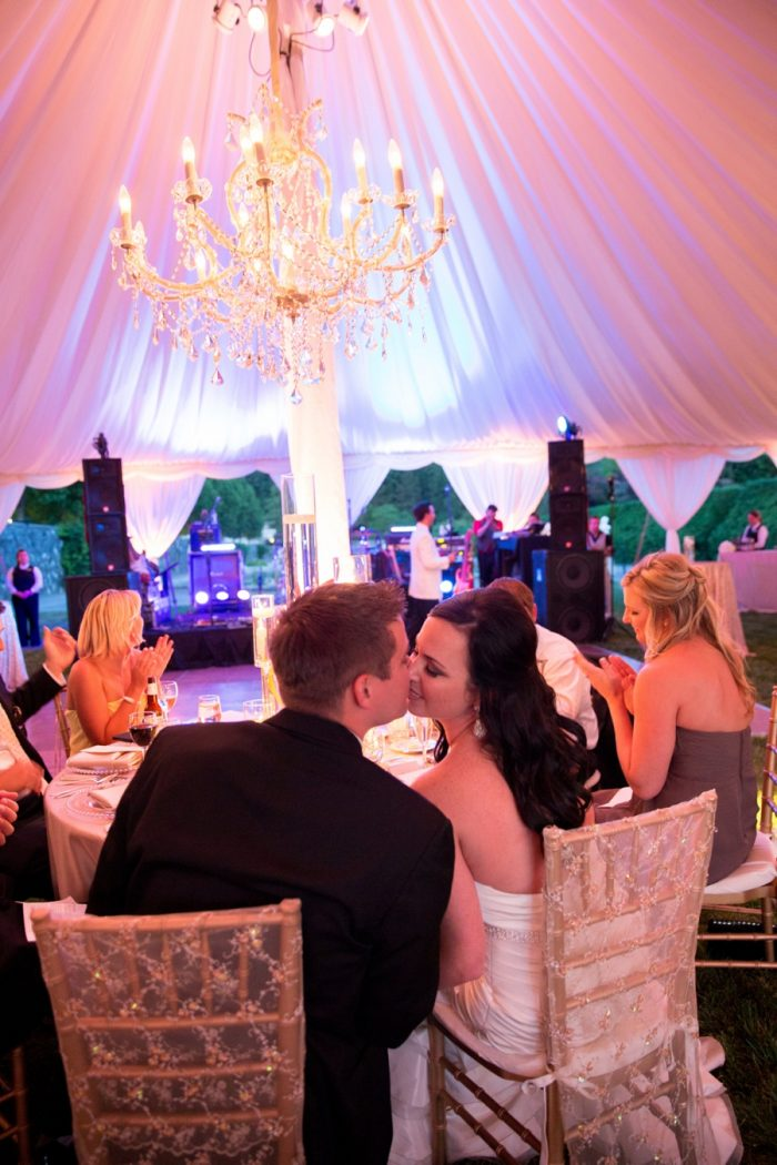 29 Asheville Event Co Bride And Groom Reception Kiss | Via MountainsideBride.com