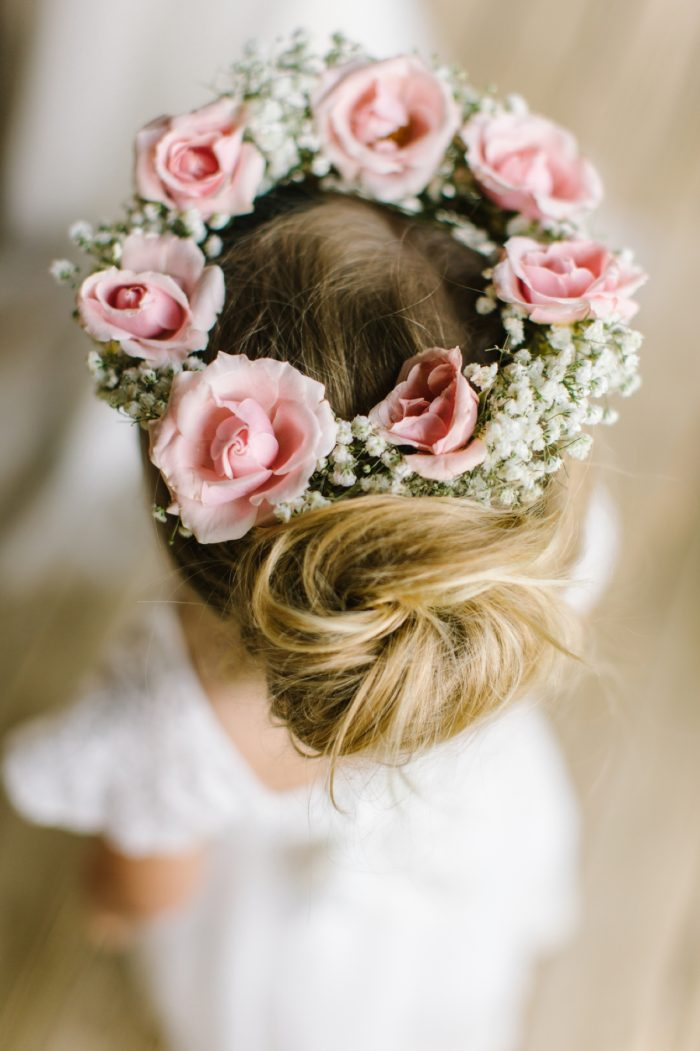 Flower Girl Floral Crown | Pure Water Farm Wedding Tennessee | JoPhoto | Via MountainsideBride.com
