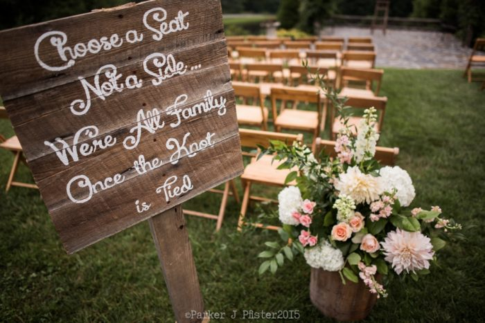 Choose A Seat Signflorals Cashiers NC Wedding | Parker J Pfister |via Mountainside Bride