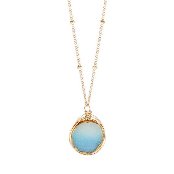 Aqua Druzy Necklace