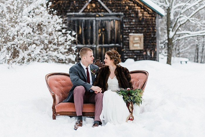 Rich Burgundy and Gold Winter Mountain Wedding Inspiration in the White Mountains