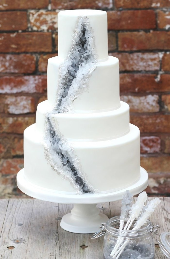 5 Gray And Silver Gem Cake Pantone 2017 Wedding Inspiration Neutral Gray 788