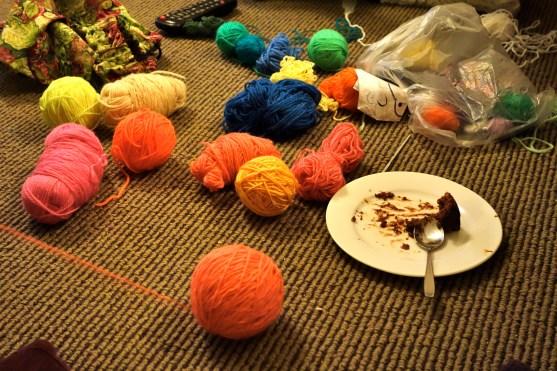 Sanna always brings wool, cake...