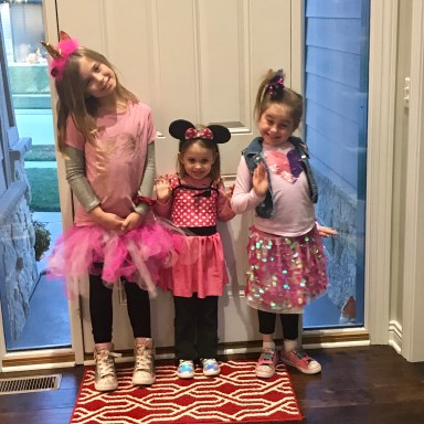 Minni Mouse, a unicorn, and JoJo Siwa - three little girls dressed up on Halloween via Ashley Stevens at Mountains Unmoved