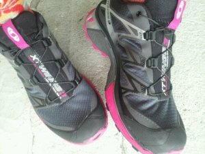 My flashy Salomon trail runners that I finished the trail in.