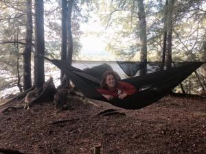 Hammocking at a campsite in the Adirondacks.