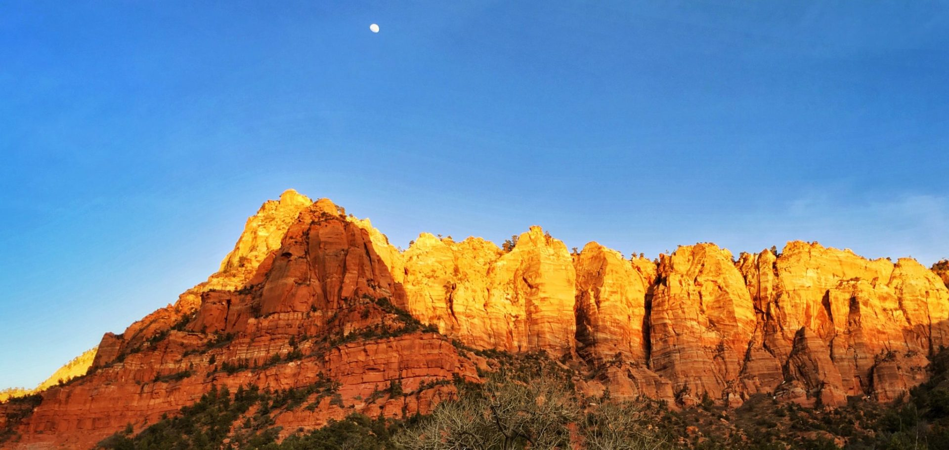 Red mountains at sunset in Utah's Zion National Park