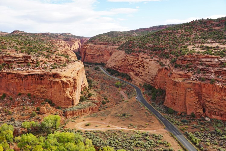 Overlook of a canyon with a road going through