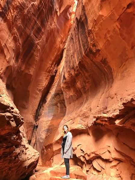 Me standing in a slot canyon along the Burr Trail, Utah.