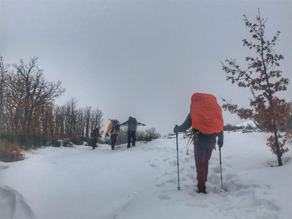 Winter camino pilgrims walking through the snow.