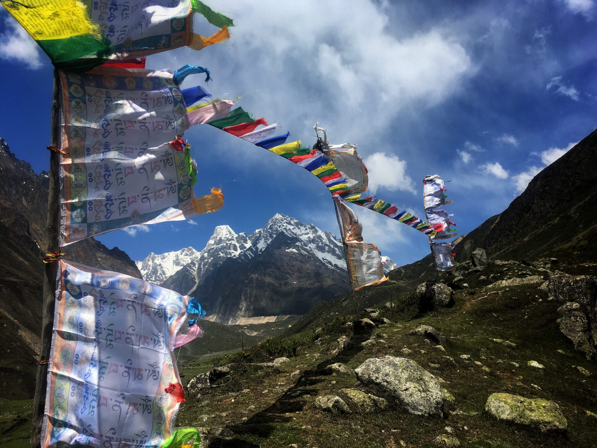 Prayer flags on the Manaslu Circuit Trek