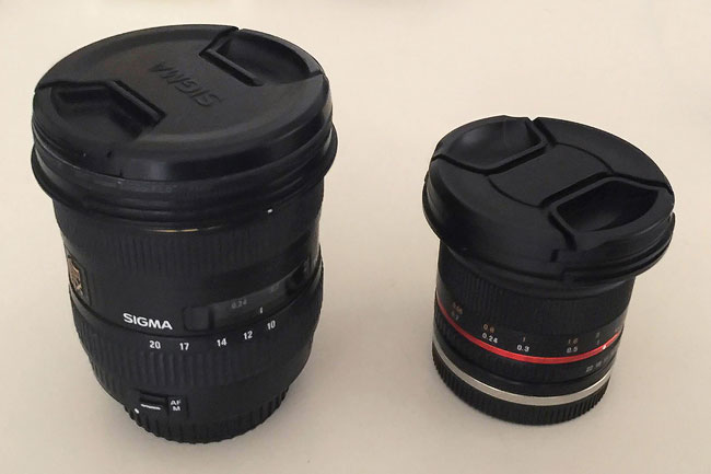 rokinon 12mm size comparison