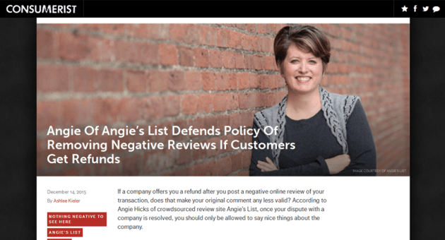 Angies's List Removes Negative Reviews