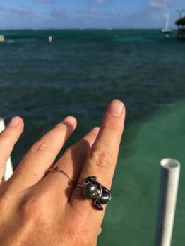 Fresh water pearl ring handmade in San Pedro Belize