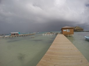 A rare stormy day on Ambergir Caye