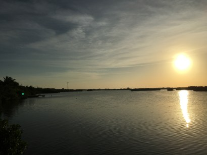 View of the sunset at The Truck Stop in Ambergris Caye Belize